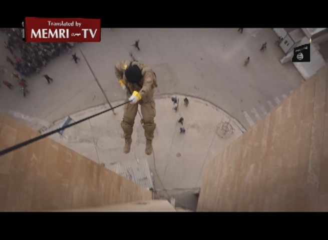 ISIS Commando Unit Members Rappel down Buildings, Demonstrate Military Skills before Crowds in Mosul