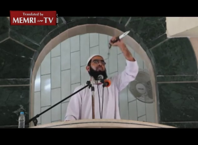 Rafah Cleric Brandishes Knife in Friday Sermon, Calls upon Palestinians to Stab Jews