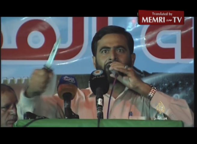 Hamas MP and Spokesman Mushir Al-Masri Brandishes Knife, Calls on All Factions to Join the