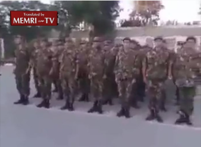 Algerian Army Marching Drill: Kill, Slaughter, and Skin the Jews