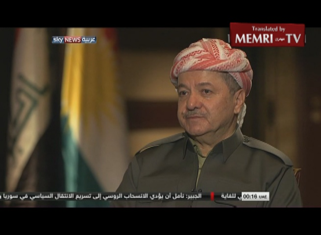 Kurdish President Barzani: The Unity of Iraq Has Failed; The Kurdish People Should Decide about Statehood in Referendum