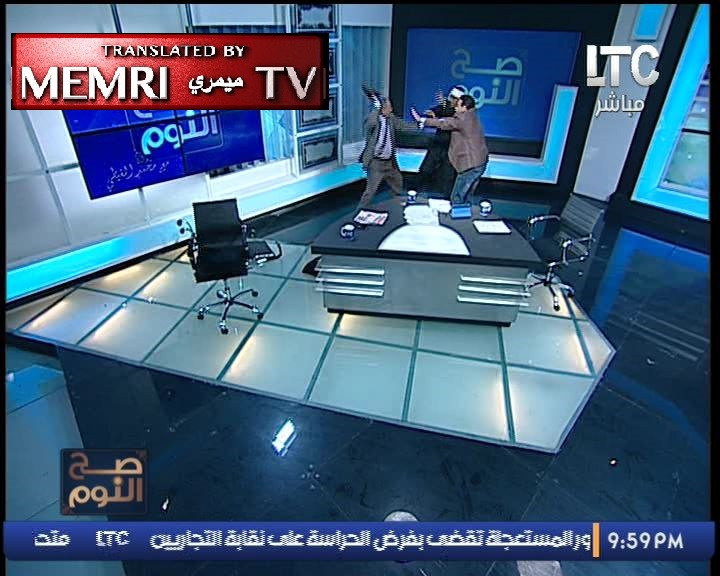 Shoes and Chairs Go Flying in Egyptian TV Studio When Debate Turns into